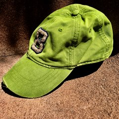 ABERCROMBIE THICK TWILL BASEBALL CAP GRASS GREEN CHENILLE 8 EMBROIDERED BACK