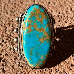1920s BIG LONG VIVID BLUE TURQUOISE SILVER RING