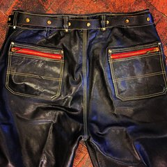 1950s GERMAN BLACK LEATHER RIVETED TRIPLE STITCHED COTTON LINED BIKER PANTS