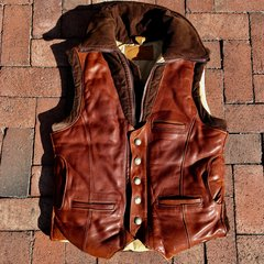 1980s BUFFALO LEATHER CORDUROY PUFFER VEST