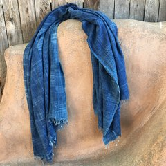 SOLD FRINGED ANTIQUE DARK INDIGO LONG THIN SHAWL #7