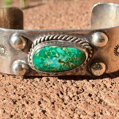 1930s BLUE GREEN NUGGET THICK SILVER STAMPED SMALL WRIST BRACELET