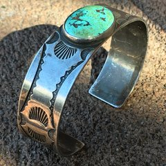 1920s STAMPED SILVER OVAL TURQUOISE CUFF BRACELET