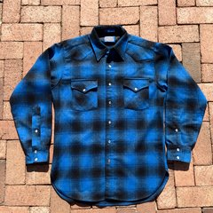 1990s GRUNGE ROCKER PENDLETON INDIGO SHADOW BOX TARTAN PLAID PEARL SNAP WESTERN WOOL SHIRT