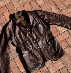 2016 RRL BUFFALO 1910s BLAZER HEAVILY OILED, BUFFED & with 1900 NAVAJO CHISELED SILVER COIN CONCHO BUTTONS