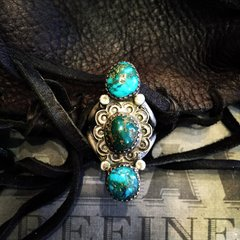 1930s PERSIAN TURQUOISE STAMPED SILVER RING