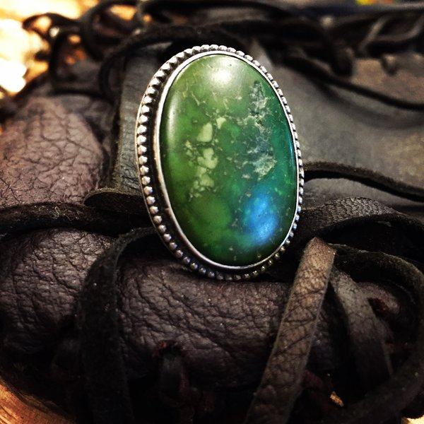1920's STAMPED KINGS MANASSA TURQUOISE AMERICAN SILVER RING