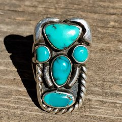 1920s SOLD TURQUOISE SILVER FACE MASK TOTEM KACHINA PINKY RING