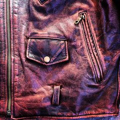 SOLD 1980s BROWN OX BLOOD PATINA BIKER LEATHER JACKET
