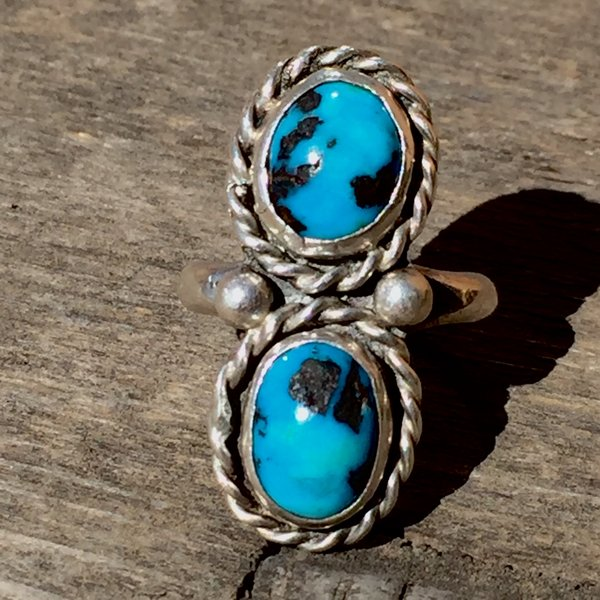 SOLD 1970s 2 BLUE STONES TURQUOISE SILVER RING
