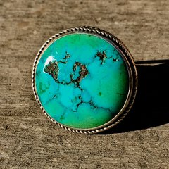 1920s SOLD BIG ROUND BLUE GREEN TURQUOISE SILVER RING