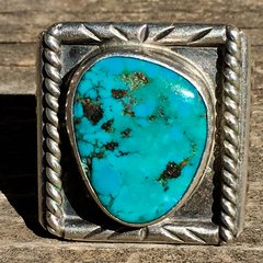 1940s BLUE TURQUOISE ROPE SIDE SHIELDS SILVER RING