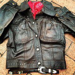 FRAMED SMALL VINTAGE STUDDED LEATHER BIKER JACKET, COWBOY BELT, BANDANNA SET