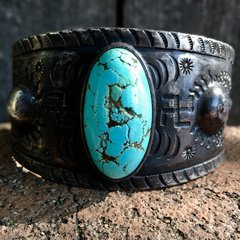 1920s H. H. TAMMEN (also located in ABQ) REPOUSSE WHIRLING LOG HUGE INGOT SILVER ROBIN'S EGG TURQUOISE MENS CUFF