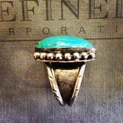 1960s SIGNED ENORMOUS SUN STAMPED TURQUOISE RING