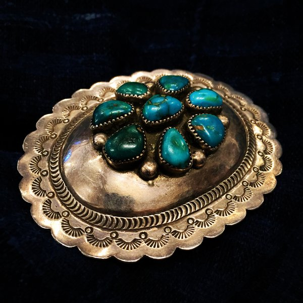 SOLD 1950S SIGNED TURQUOISE AMERICAN SILVER BELT BUCKLE