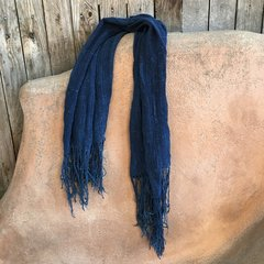 SOLD FRINGED ANTIQUE DARK INDIGO LONG SHAWL #11