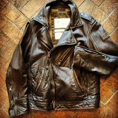 SOLD ABERCROMBIE & FITCH HEAVY BROWN LEATHER BIKER JACKET WITH COTTON FLANNEL LINING & COTTON STUFFING
