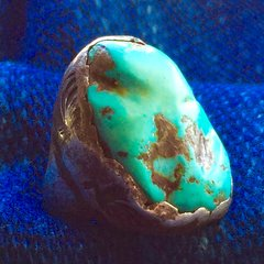 1930s DAN SIMPLICIO TURQUOISE NUGGET SILVER LEAF FOLIATE STAMPED RING