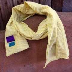 YELLOW COTTON GINGHAM SCARF