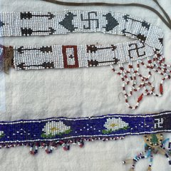 1920s FRAMED SWASTIKA WHIRLING LOGS, ARROWS, FLOWERS & PINON TREES BEADED POW WOW HEADDRESS PAIR