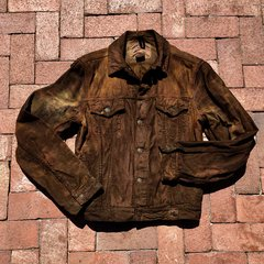 ABERCROMBIE DISTRESSED AGED COFFEE COLD WEATHER CORDUROY JACKET LARGE