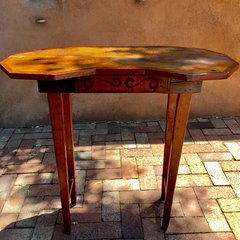 1880s HANDPAINTED PINE NEW MEXICAN FOLK ART COTTAGE DESK