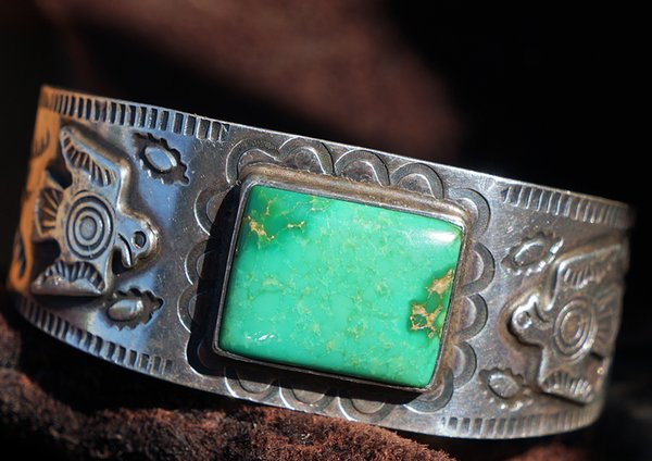 SOLD 1930's BIG THUNDERBIRD TURQUOISE & SILVER CUFF