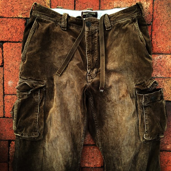 ABERCROMBIE & FITCH 1990s FADED DISTRESSED BROWN CORDUROY CARGO PANTS
