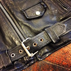 SOLD 1980s DISTRESSED BLACK LEATHER D POCKET BIKER JACKET