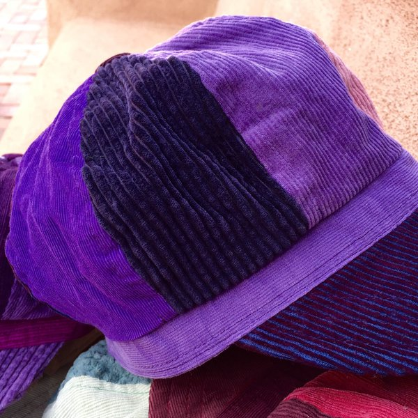100% COTTON PATCHWORK CORDUROY GIRL HAT with SECRET ZIPPERED POCKET