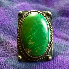 1920s ENORMOUS CERILLOS TURQUOISE ARROW STAMPED FRED HARVEY ERA SILVER RING
