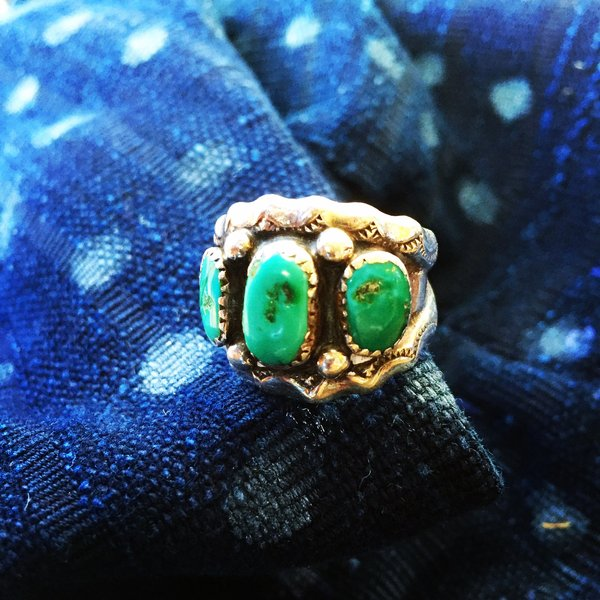 SOLD 1960s SIGNED 3 BLUE TURQUOISE STONE RING