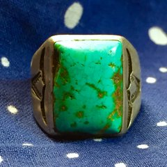 1920s SOLD SOUTHWEST AMERICAN STEER BULL HORNS STAMPED BLUE TURQUOISE MENS RING