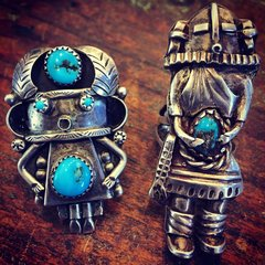 1980s SOLD FINGER LONG HEAVY SILVER EXQUISITE KACHINA TURQUOISE RING