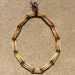 SOLD 1750s PUMP DRILLED BUFFALO BONE FINGERPRINTED BRASS BEAD PLAINS INDIAN WARRIOR MEDICINE MAN NECKLACE