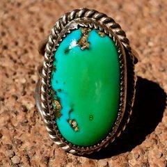 1930s INGOT SILVER HANDCUT BEZEL BLUE GREEN TURQUOISE PINKY RING