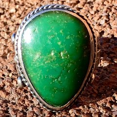 "1920s ""ME TOO"" GREEN DROP SHAPES TURQUOISE STAMPED SILVER FRED HARVEY ERA RING"