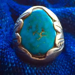 1940s VIVD BLUE TURQUOISE SUN STAMPED DAN SIMPLICIO SILVER RING