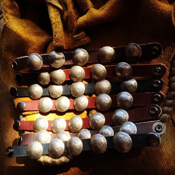 INDIAN CHIEF AND BUFFALO NICKEL CONCHO LEATHER BRACELET