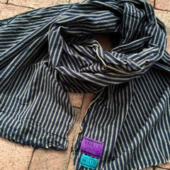 100% COTTON MARAKESH STRIPED INDIGO SCARF