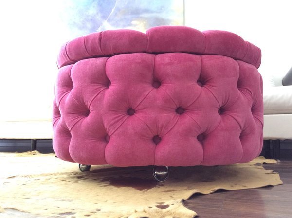 Tufted Ottoman Round Ottoman With Storage And Castors