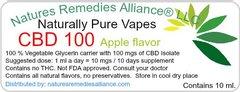 Naturally Pure Vapes CBD 100, (Five flavors and natural)