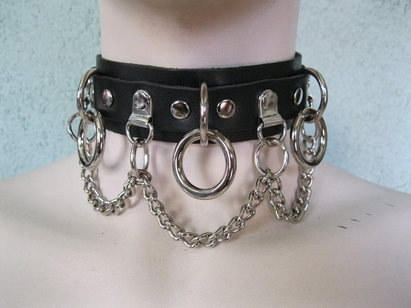 Bondage Choker 13CCH Leather, Rings and Chain