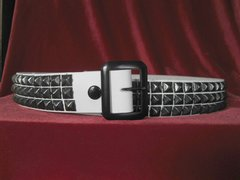 23BWB Belt with Three Rows of Black Pyramids on White Leather