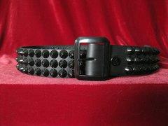 23BBlack Belt with Three Rows of Black Cones