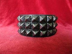Wristband 23Black Three Rows of Black Pyramids