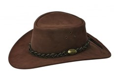 Jacaru Wallaroo Suede Leather Hat Brown Size Med-Large Australia Outback