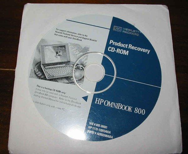 HP OmniBook 800CT 5/100 5/133 Genuine Recovery CD-ROM