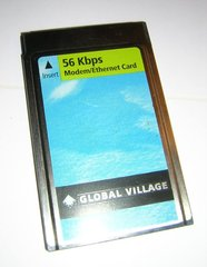 Global Village PCMCIA Combo 56 Kbps Modem / Ethernet LAN PC Card A959